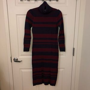 Navy/Oxblood Striped Turtleneck Cotton Midi Dress